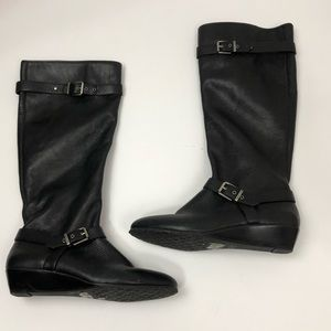 Arturo Chiang Black Leather Boots Size 9